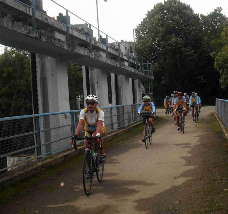 Arrivée des cyclistes
